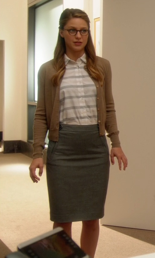 Melissa Benoist with Lord & Taylor Knit Pencil Skirt in Supergirl