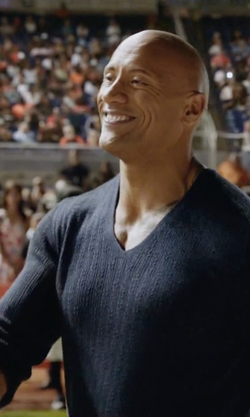 Dwayne Johnson with John Varvatos Cable-Knit Sweater in Ballers