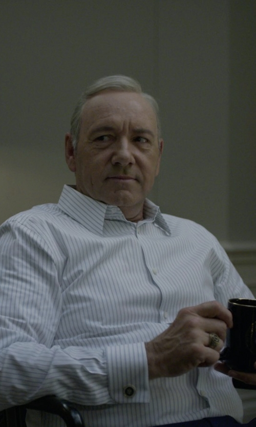 Kevin Spacey with Charvet Multi-Stripe Dress Shirt in House of Cards
