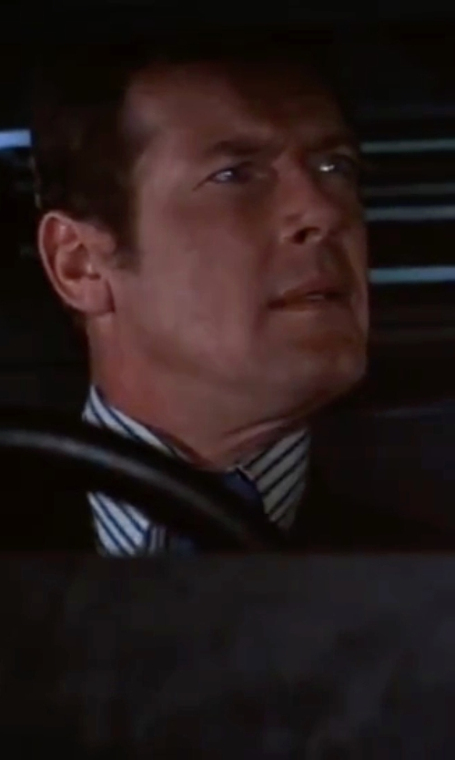 Roger Moore with Thomas Pink Alford Stripe Dress Shirt in The Spy Who Loved Me