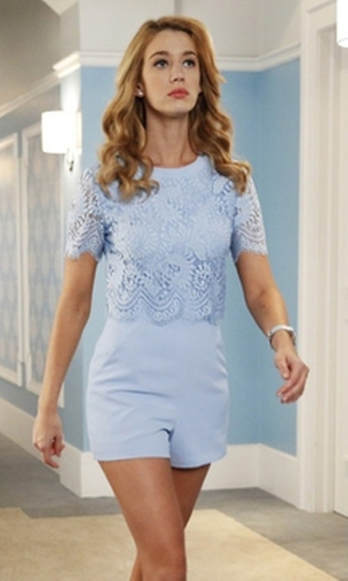 Yael Grobglas with Ted Baker Zasha Lace Romper in Jane the Virgin
