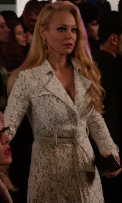 Charlotte Ross with Bebe Lace Trench Coat in Arrow