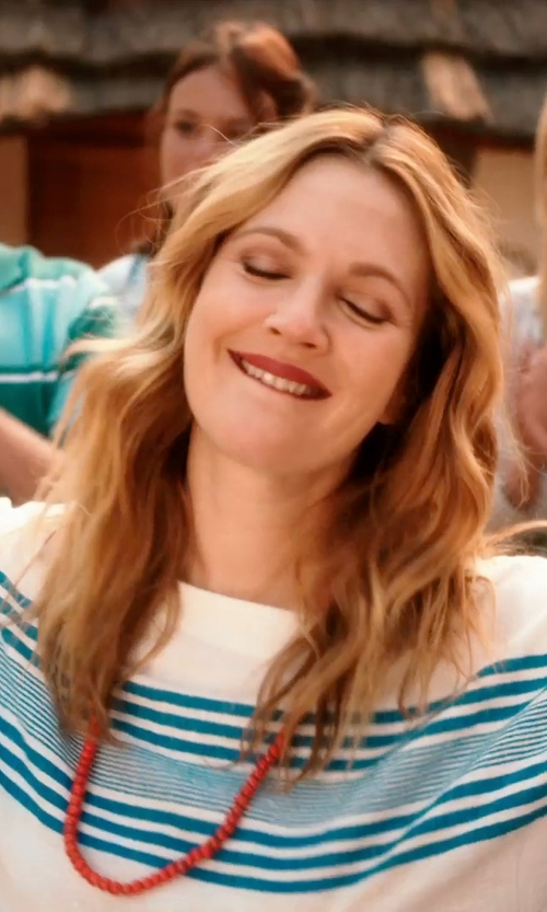 Drew Barrymore with SALVATORE FERRAGAMO striped sweater in Blended
