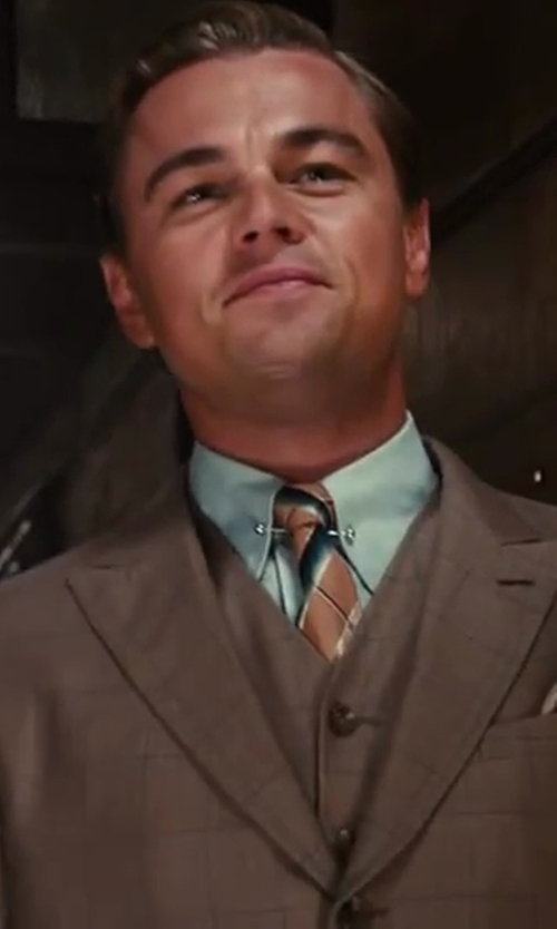 Leonardo DiCaprio with Brooks Brothers The Great Gatsby Collection Supima Cotton Non-Iron Slim Fit Golf Collar French Cuff Broadcloth End-on-End Striped Dress Shirt in The Great Gatsby