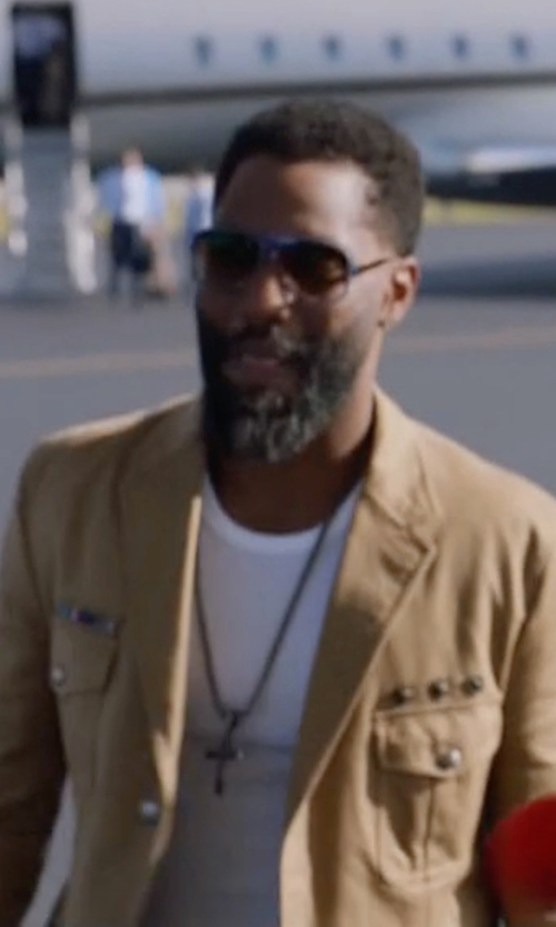 John David Washington with Alexander McQueen Military Shirt-Jacket in Ballers