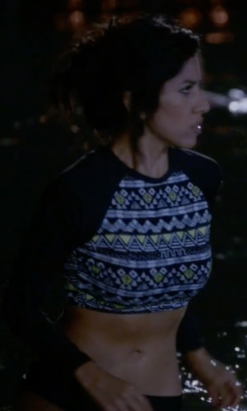 Stephanie Beatriz with O'Neill Skins Long Sleeve Crop Top in Brooklyn Nine-Nine