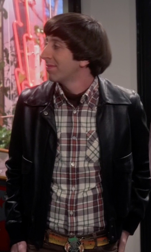 Simon Helberg with Asos Faux Leather Biker Jacket in The Big Bang Theory