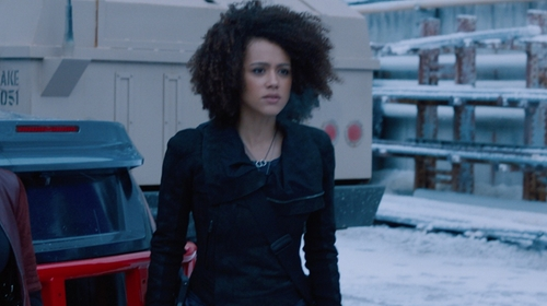Nathalie Emmanuel with Rick Owens Suede Biker Jacket in The Fate of the Furious