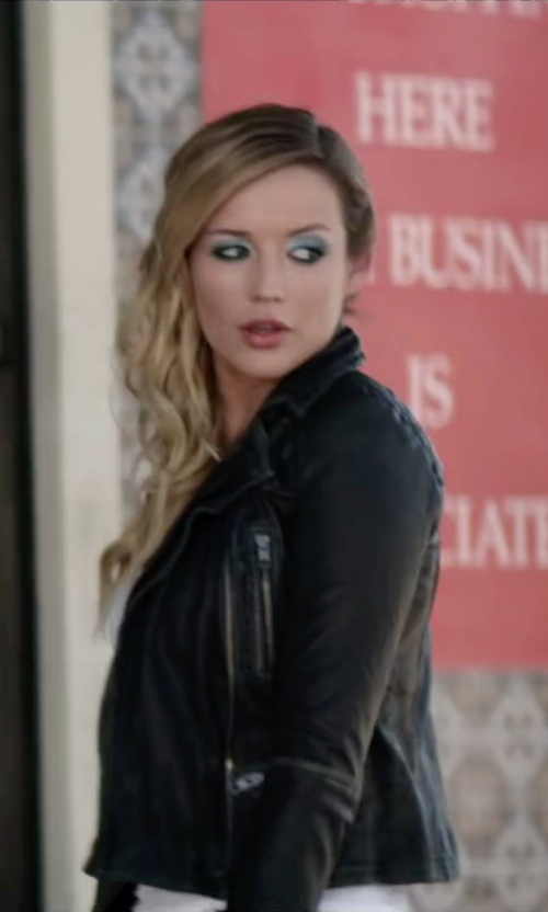 Sarah Dumont with True Religion Moto Jacket in Scout's Guide to the Zombie Apocalypse