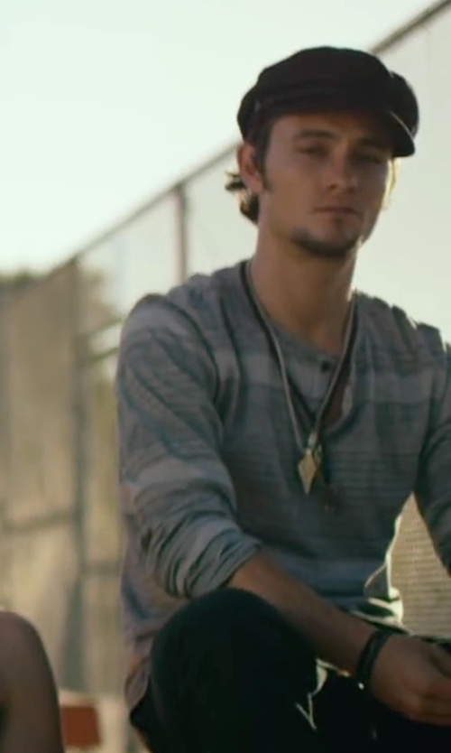 Shiloh Fernandez with Reiss Manhattan Stripe Henley T-Shirt in We Are Your Friends