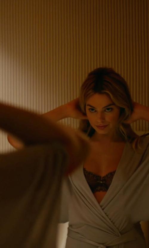 Margot Robbie with Josie Natori Textured Silk-Blend Wrap Robe in Focus