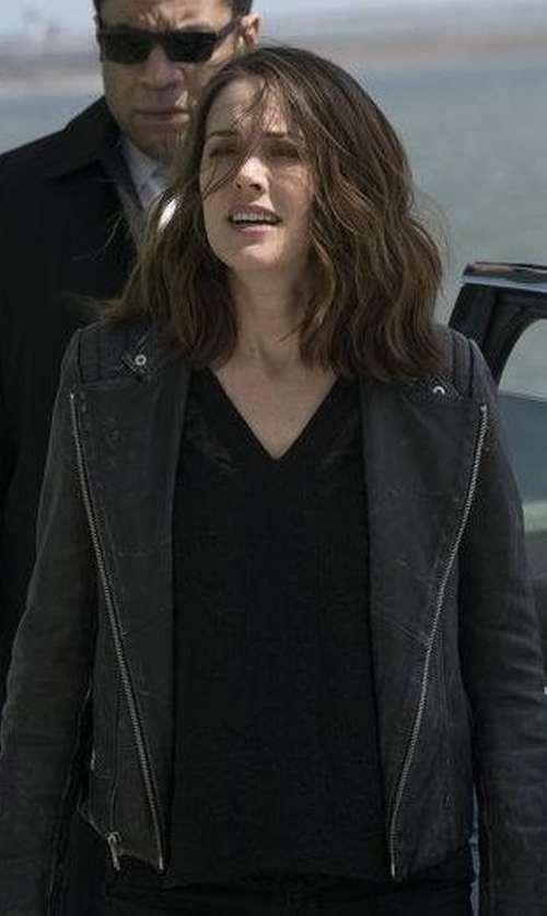 Megan Boone with 7 For All Mankind Moto Leather Jacket in The Blacklist