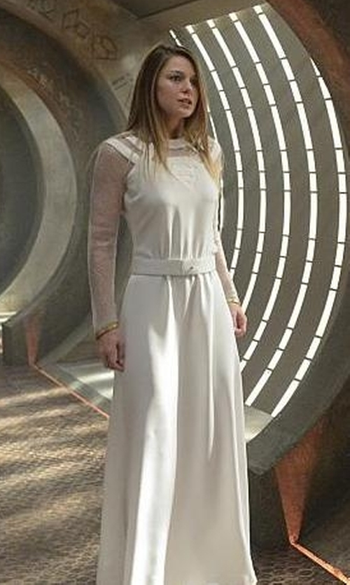 Melissa Benoist with Philosophy Di Lorenzo Serafini Eyelet & Georgette Maxi Dress in Supergirl
