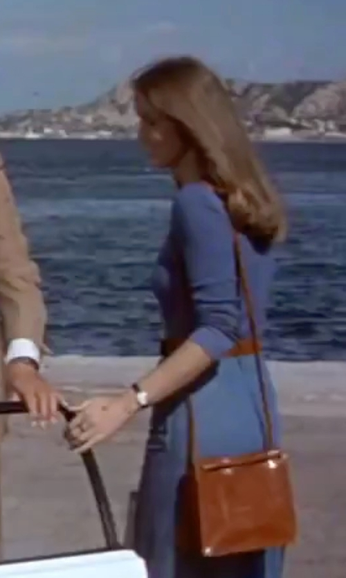 Barbara Bach with Lauren By Ralph Lauren Crawley Double Zip Crossbody Bag in The Spy Who Loved Me