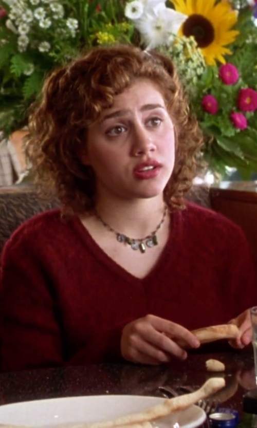 Brittany Murphy with Forever21 Rhinestoned Bib Necklace in Clueless