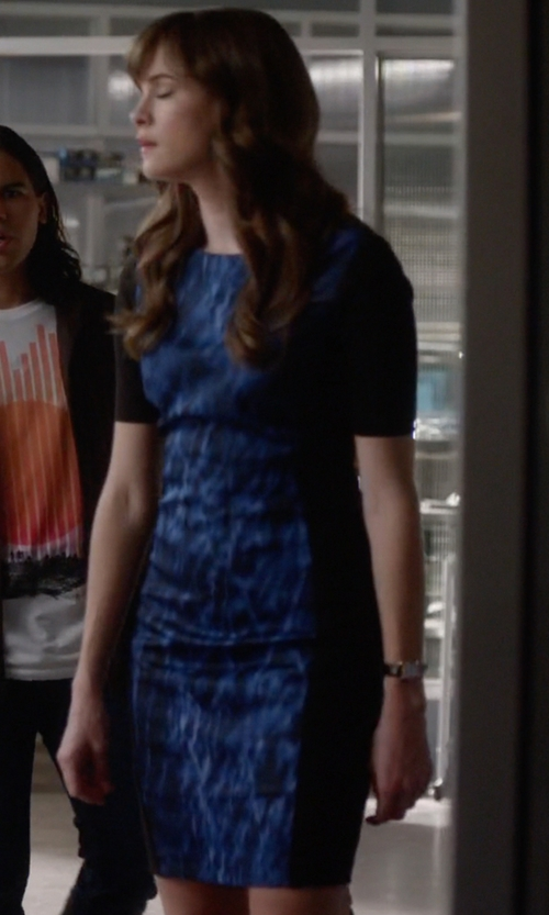 Danielle Panabaker with Nine West Printed Panel Sweater Dress in The Flash