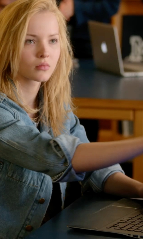 Dove Cameron with Topshop Moto 'Tilda' Denim Jacket in Barely Lethal