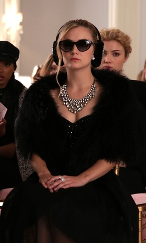 Billie Lourd with Ramy Brook Fiona Fur Bolero in Scream Queens