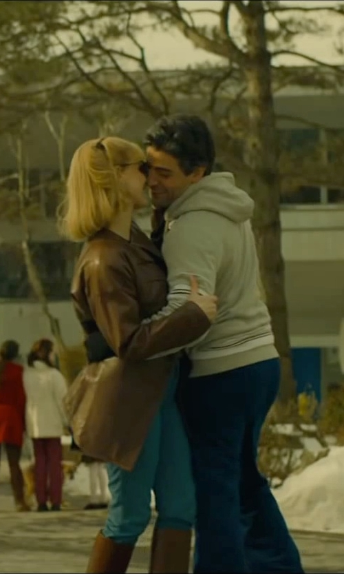 Jessica Chastain with Cole Haan Modern Lamb Wing Collar Zip Front Jacket in A Most Violent Year