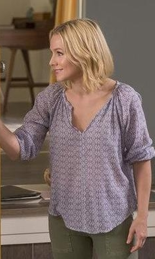 Kristen Bell with Velvet by Graham & Spencer Cotton Voile Peasant Blouse in The Good Place