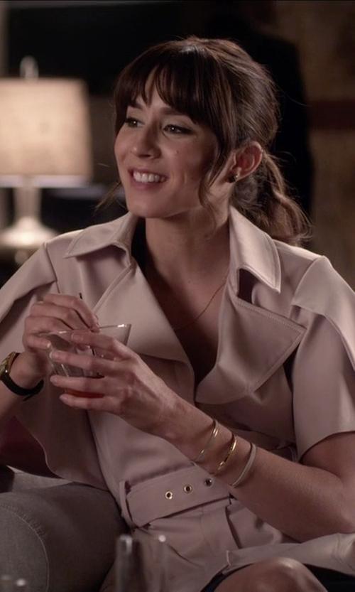 Troian Bellisario with Bebe  Nancy Flutter Sleeve Coat in Pretty Little Liars