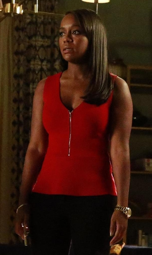 Aja Naomi King with Movado Bold Analog Display Gold Watch in How To Get Away With Murder