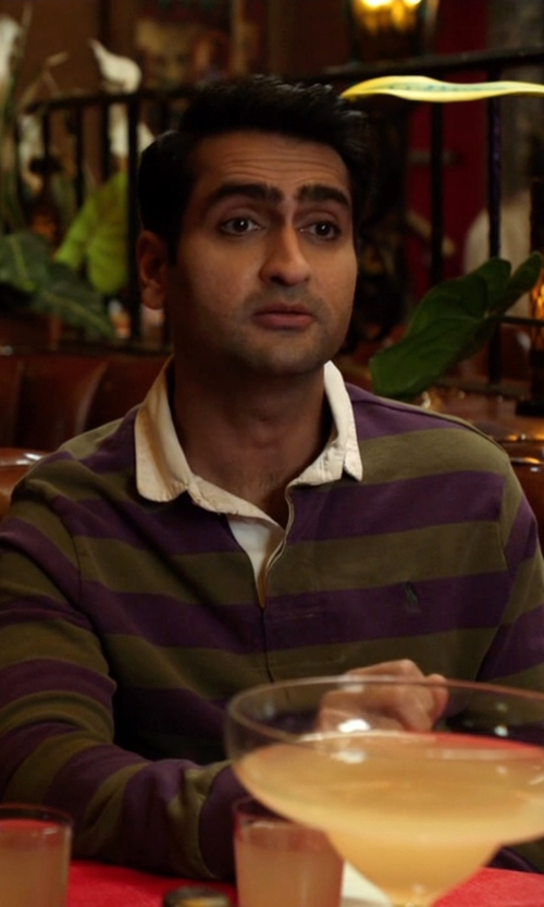 Kumail Nanjiani with Ralph Lauren Striped Rugby Top in Silicon Valley