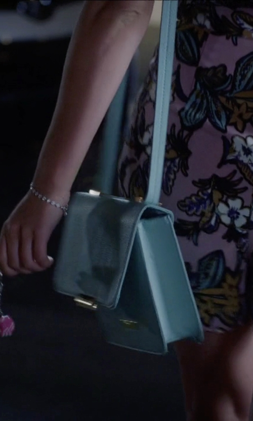 Janel Parrish with Vince Camuto Mila Mini Crossbody Bag in Pretty Little Liars