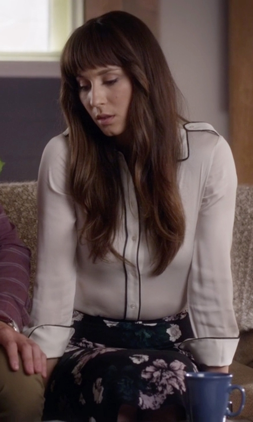 Troian Bellisario with Asos Contrast Piping Blouse in Pretty Little Liars