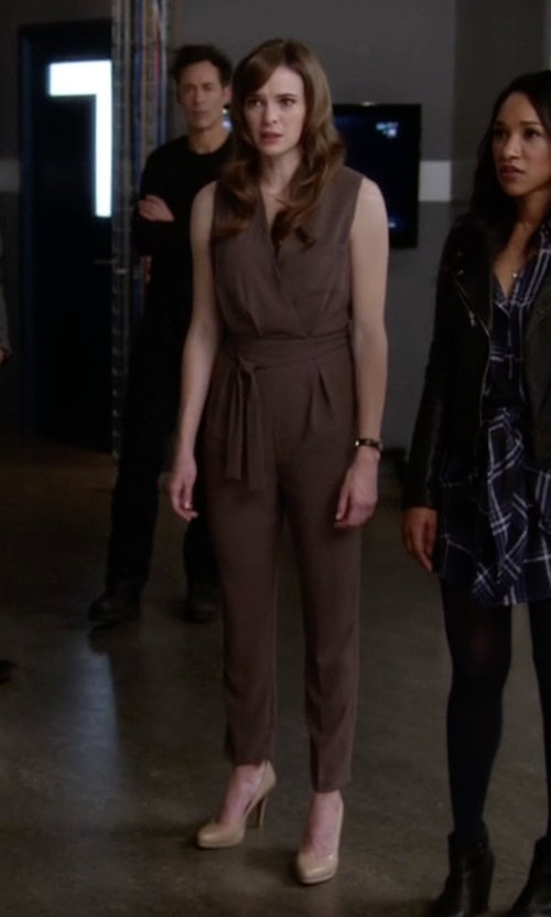 Danielle Panabaker with BCBGMAXAZRIA Ridley Safari Wrap Jumpsuit in The Flash