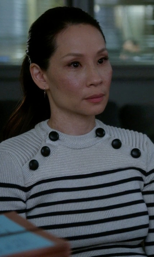 Lucy Liu with Isabel Marant Hatfield Knit Sweater in Elementary