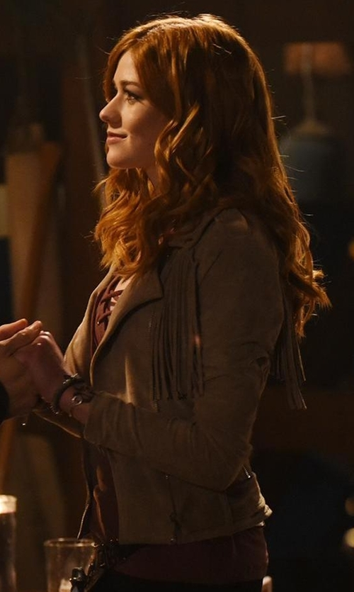 Katherine McNamara with Moon River Suede Fringe Biker Jacket in Shadowhunters