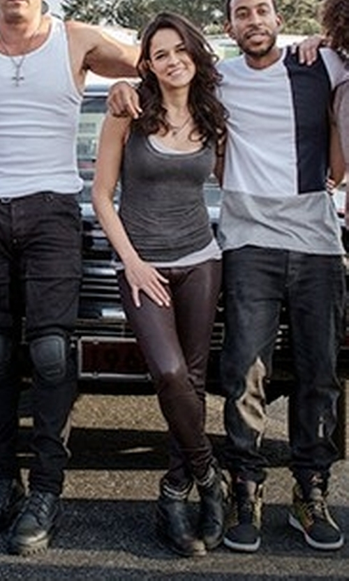 Michelle Rodriguez with Tory Burch Gemini Link Leather Boots in Fast 8