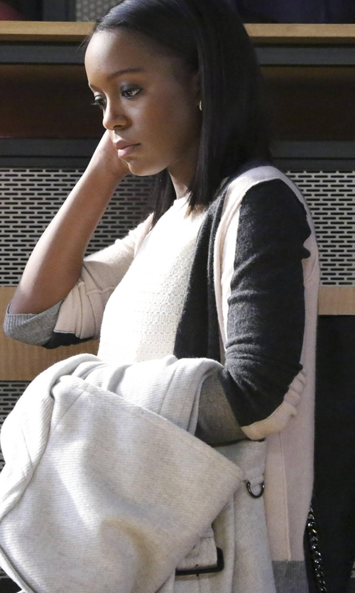 Aja Naomi King with Magaschoni Colorblock Open-Weave Sweater in How To Get Away With Murder