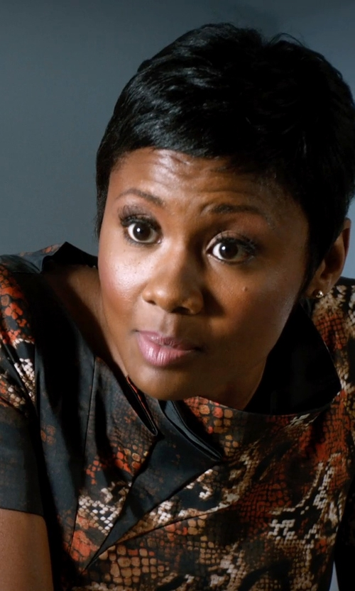 Emayatzy Corinealdi with McQ By Alexander McQueen Snakeskin Print Dress in Addicted