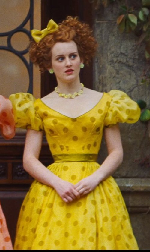 Sophie McShera with Sandy Powell (Costume Designer) Custom Made Yellow Polka Dot Dress (Drizella) in Cinderella