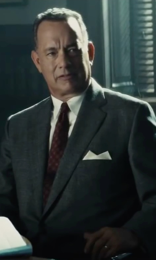 Tom Hanks with Boss Hugo Boss Silk Pocket Square in Bridge of Spies