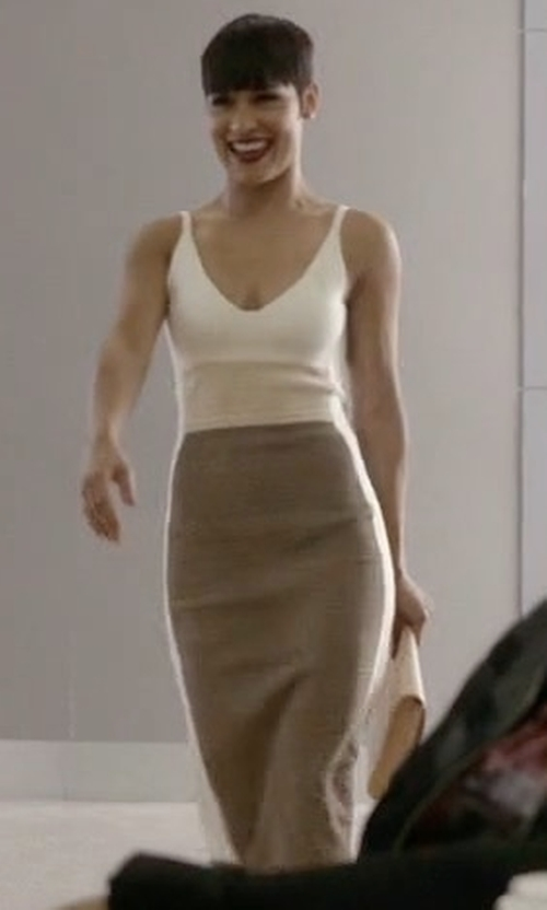 Grace Gealey with Narciso Rodriguez Sleeveless Colorblock Sheath Dress in Empire