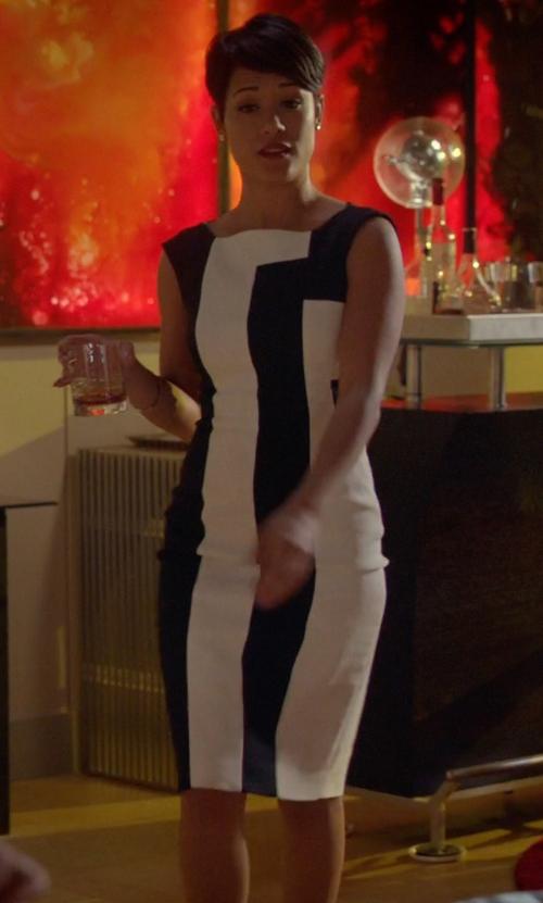 Grace Gealey with Karen Millen Vertical Stripe Dress in Empire