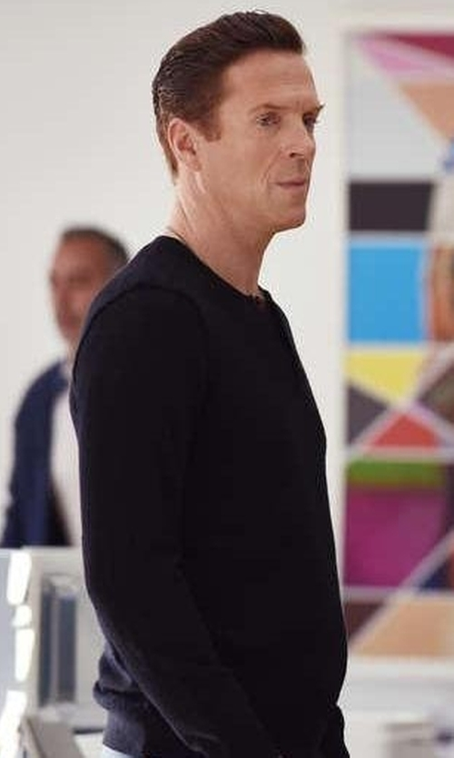 Damian Lewis with Billy Reid Slim-Fit Ribbed Henley in Billions