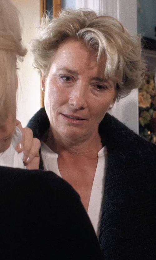 Emma Thompson with Vince White Georgette Trapunto Detail V-Neck Blouse in A Walk in the Woods