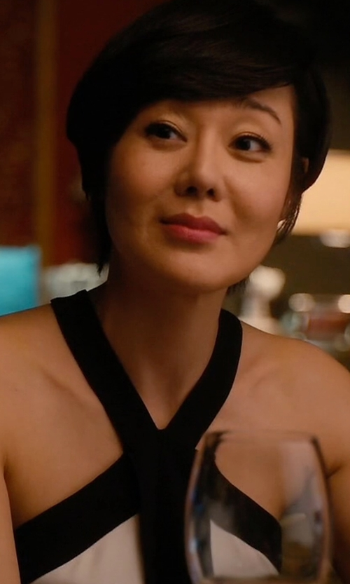 Yunjin Kim with Proenza Schouler Bicolor Crepe Tie-Neck Halter Top in Mistresses