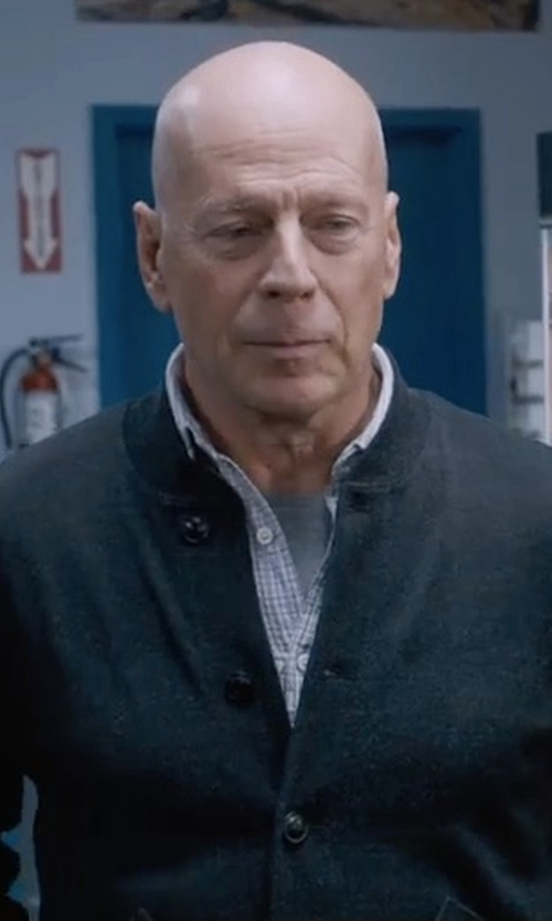 Bruce Willis with Ralph Lauren RRL Cotton Baseball Jacket in Death Wish