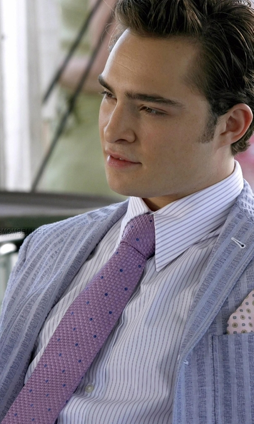 Ed Westwick with The Tie Bar Grenafaux Dots Tie in Gossip Girl