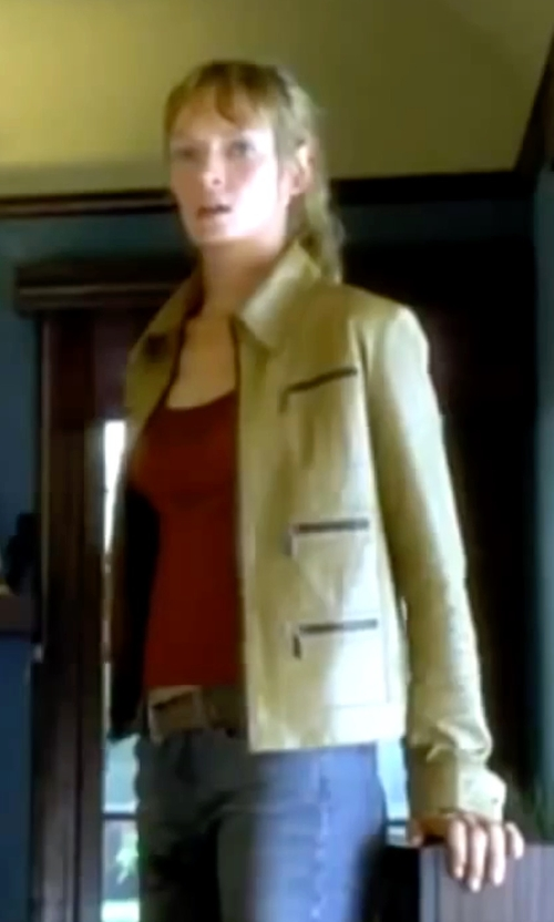 Uma Thurman with Rachel Roy Faux-Leather Cropped Moto Jacket in Kill Bill: Vol. 1