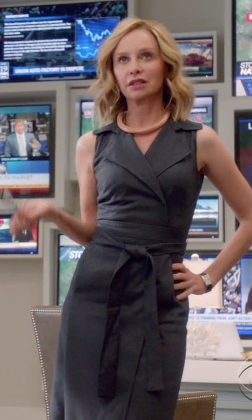Calista Flockhart with Rag & Bone Belted Wrap Dress in Supergirl