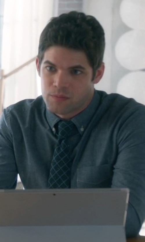 Jeremy Jordan with Ted Baker London Windowpane Silk Blend Tie in Supergirl