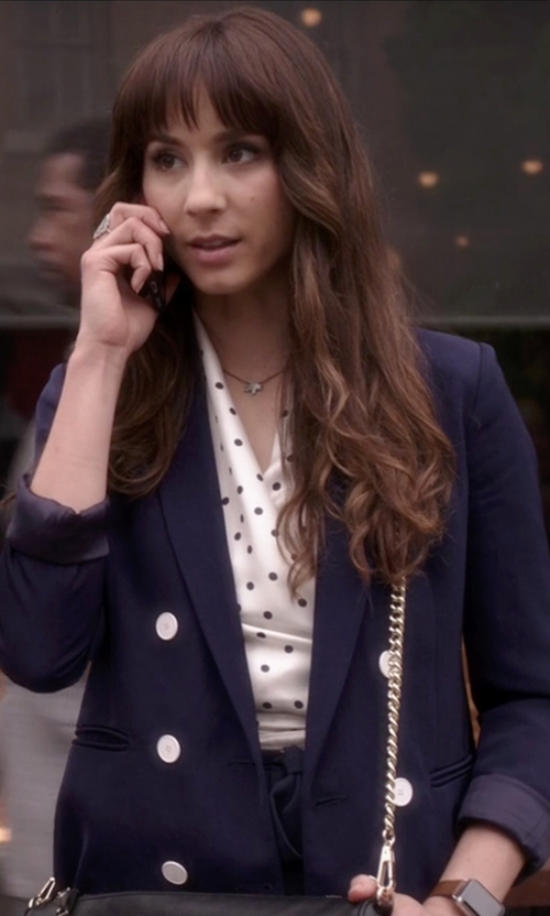 Troian Bellisario with Sandro Vice Twill Blazer in Pretty Little Liars