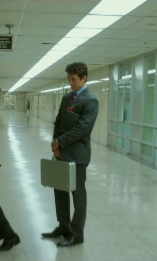 Miles Teller with Boss The James/Sharp Italian Virgin Wool Suit in War Dogs