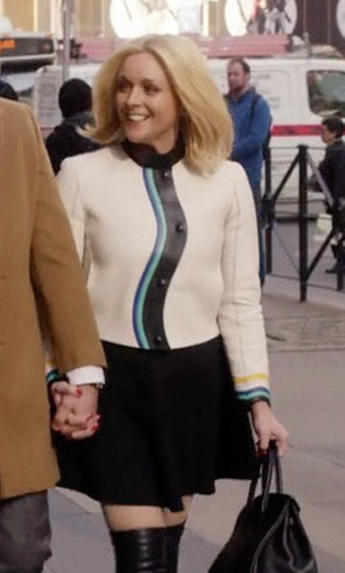 Jane Krakowski with Fendi Asymmetrical Button-Front Leather Jacket in Unbreakable Kimmy Schmidt